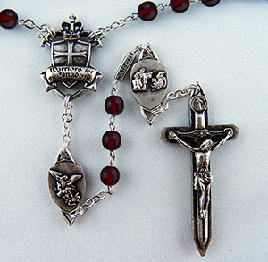 The Warrior's  Rosary in 6mm Bohemian Red Glass 