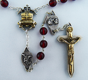 The Warrior Rosary in 8mm Bohemian Red Glass 