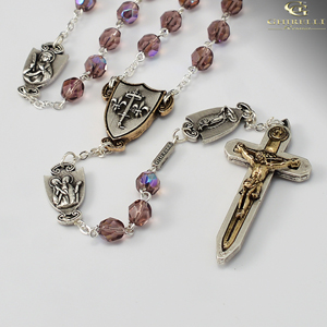 The Warrior's Rosary for Women 7mm Amethyst Bohemian Glass Faceted beads with Aurora Borealis effect. Crucifix and centerpiece are a two tone antique gold and silver finish with all the Our Father medals antique silver.