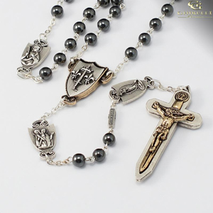 The Warrior's Rosary for Women - 6mm Semi-Precious Stone Hematite. Crucifix and centerpiece are a two tone antique gold and silver finish with all the Our Father medals antique silver.