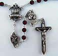 The Warrior's  Rosary in 6mm Bohemian Red Glass <br>
