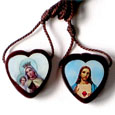 Small Brown Wood Scapular Oval